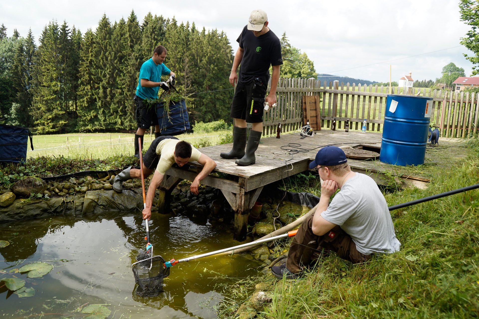volles Risiko beim Fischen nach Grashalmen